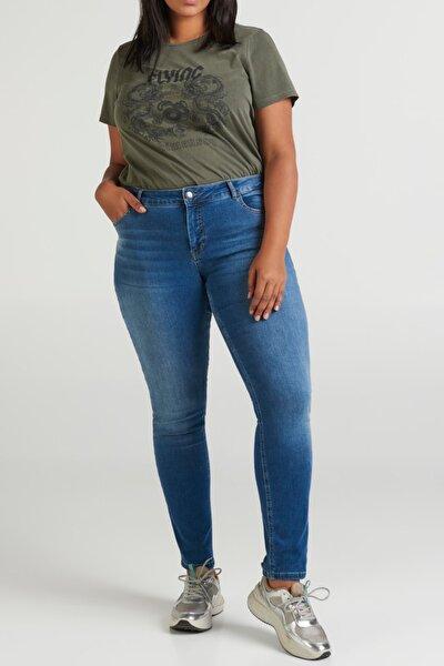Kadın Büyük Beden Mavi Yüksek Bel Slim Fit Jeans