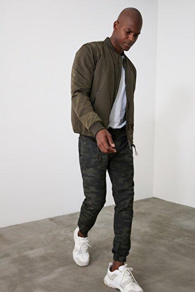 Haki Erkek Kamuflaj Beli Lastikli Fermuar Detaylı Pantolon TMNAW21PL0632