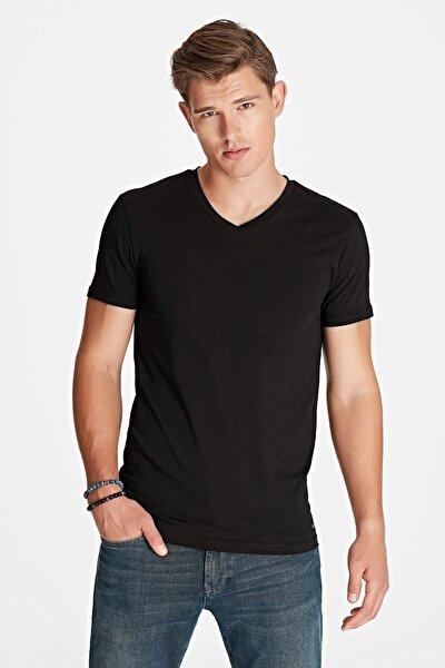 Erkek Siyah   V Yaka Streç T-Shirt