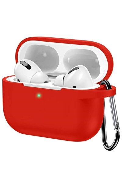 Apple Airpods Pro Mat Esnek Silikon 360 Tam Koruma Kırmızı Kılıf