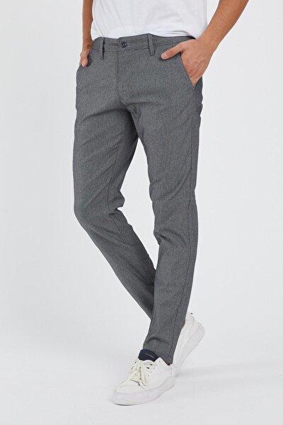 Erkek Antrasit Keten Slim Fit Kendinden Desenli Pantolon