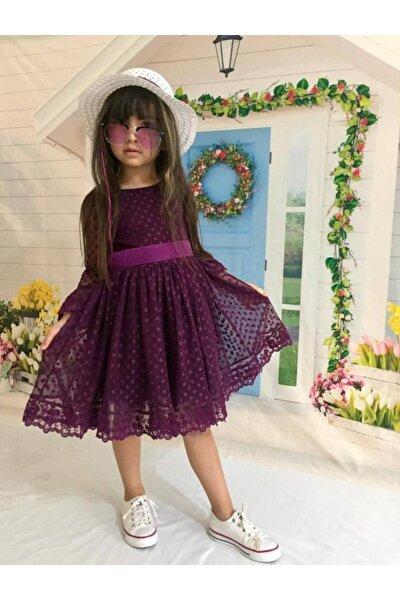 Mor Şapkalı Tüllü Güpür Detaylı Kız Çocuk Elbisesi