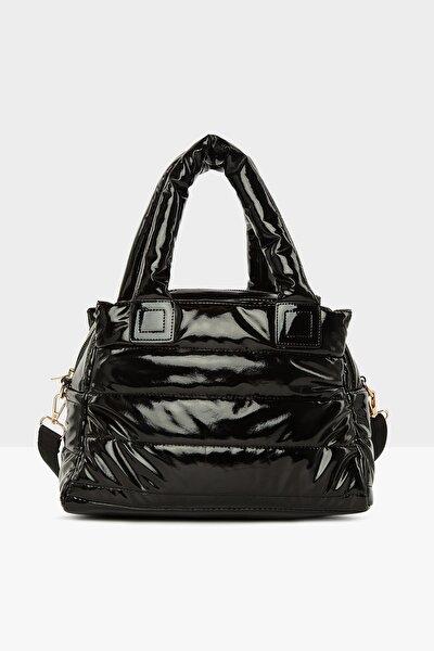 Rugan Siyah Kadın Üç Bölmeli Şişme Çanta M000005141