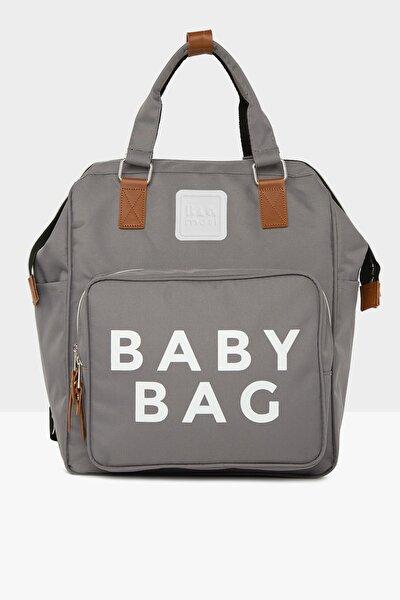 Gri Baby Bag Baskılı Cepli Anne Bebek Bakım Sırt Çantası M000005163