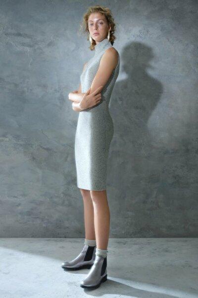 Kadın Gri Melanj Kolsuz Triko Elbise 0KKEL7255X