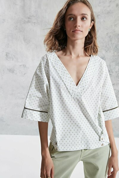 Kadın Vizon V Yaka Rahat Kalıp Bluz 0KKGM6044X