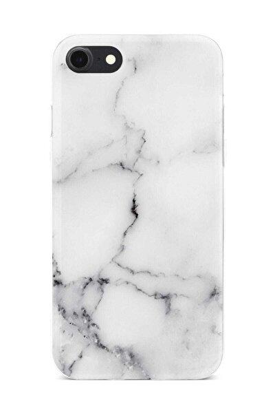 iPhone 8 Marble Mermer Desenli Beyaz Kılıf