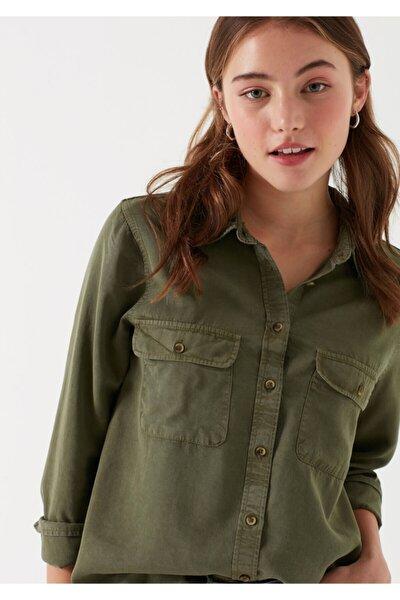 Kadın Cepli Yeşil Lyocell Gömlek