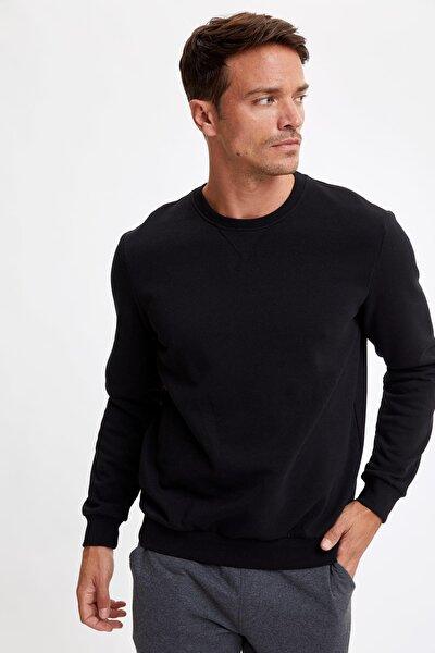 Erkek Black Red Bisiklet Yaka Regular Fit Basic Sweatshirt R6410AZ20AU