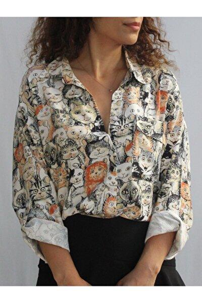Kadın Siyah Kedi Baskılı Gömlek