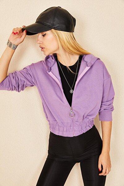 Kadın Lila Bel Büzgülü Kapüşonlu Sweatshirt