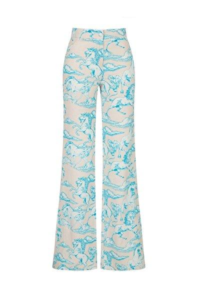 Kadın Mavi Desenli İspanyol Paça Pantolon