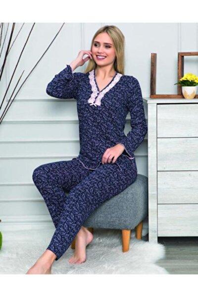 Kadın Lacivert Uzun Kollu Pijama Takımı