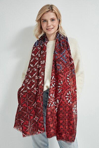 Kadın Kırmızı Çok Desenli Şal 12197