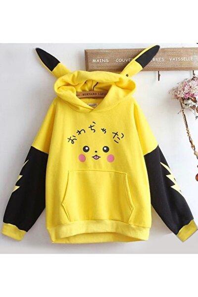 Kadın Sarı Pikaçu Özel Tasarım Sweatshirt