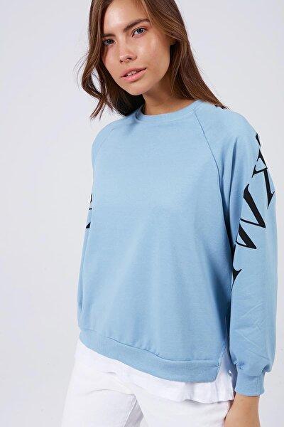 Kadın Kolu Baskılı Tişörtlü Uzun Kollu Sweatshirt Y20w167-7603