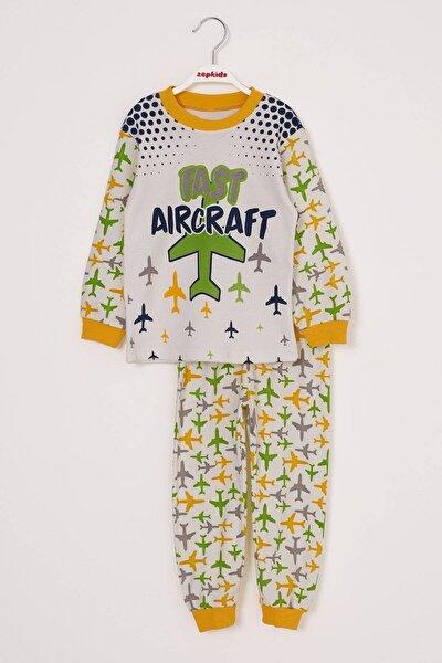 Erkek Çocuk Pijama Takımı Uçak Baskılı 4-6 Yaş