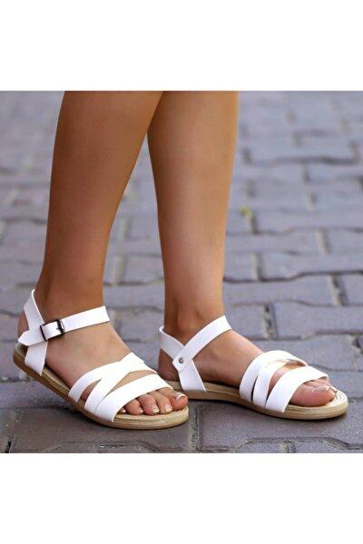 Beyaz Bayan Sandalet