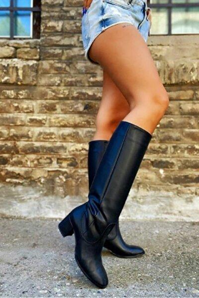 Kadın Siyah Deri Köşeli Burunlu Dizaltı Çizme