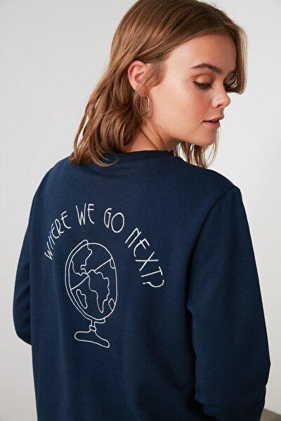 Lacivert Sırt Nakışlı Basic Örme Sweatshirt TWOAW21SW1188
