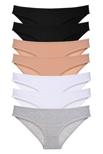 Kadın Koyu Renkler 7'li Paket Bikini Külot