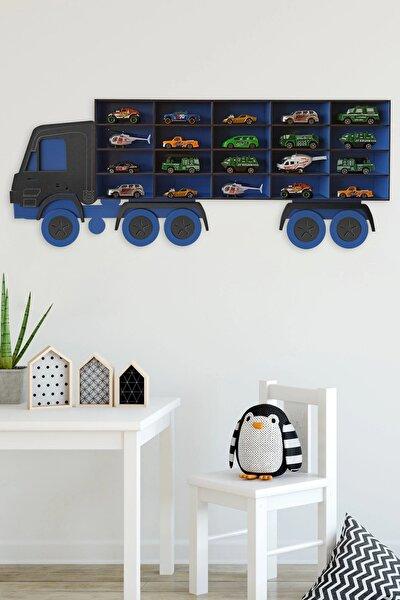 Bege Ahşap Dekoratif Çocuk-bebek Odası Oyuncak Kamyon Araba Rafı