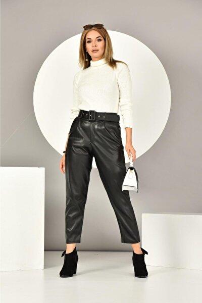 Kadın Kemerli Deri Pantolon