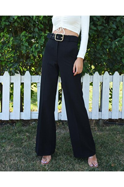 Kadın Uzun Boru Paça Kemerli Pantolon