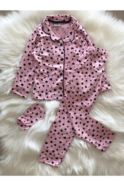 Kız Çocuk 4-12 Yaş Kalpli Önden Düğmeli Pijama Takımı