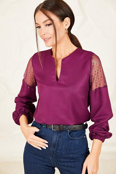 Kadın Mürdüm V Yaka Kolu Tüllü Balonlu Bluz ARM-20K001038