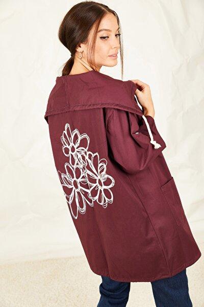Kadın Mürdüm Sırtı Çiçek Baskılı Mevsimlik Ceket ARM-20K024030