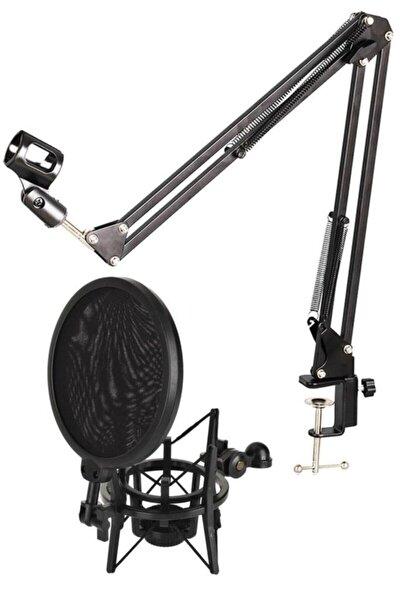 Nb39 Masa Mikrofon Standı (sehpa) + Sh-101 Pop Filtre Ve Shock Mount Set