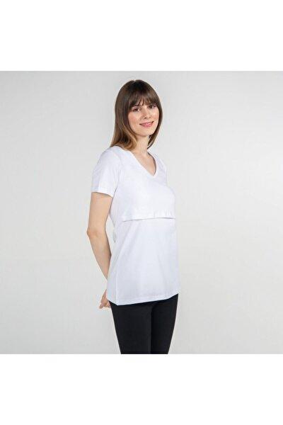 Kadın Beyaz V- Yaka Hamile T-Shirt