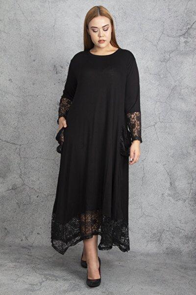 Kadın Siyah Dantel Detaylı Viskon Uzun Kollu Elbise 65N18911