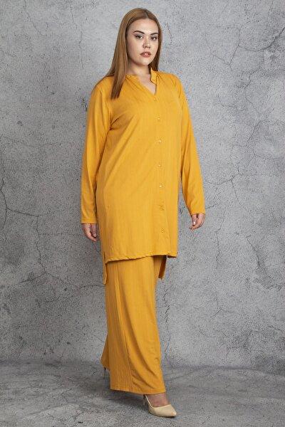 Kadın Hardal Hakim Yaka Ön Düğmeli Tunik Pantolon Takım 65N18890