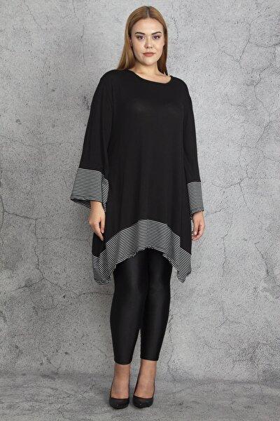 Kadın Siyah Garnili Asimetrik Tunik 65N18899