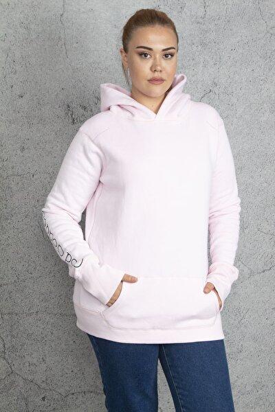 Kadın Pembe İçi Şardonlu Kapşonlu Sweatshirt 65N18846