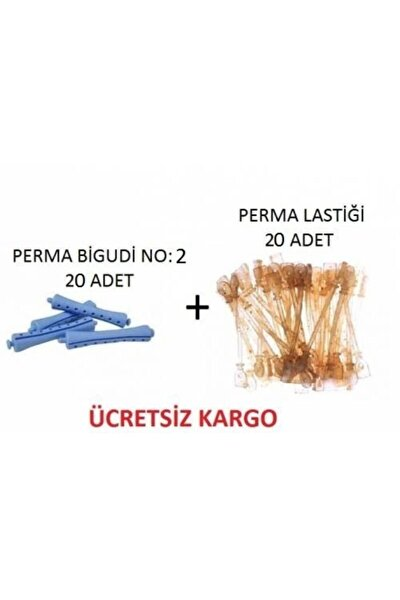Perma Bigudisi No:2 (20 Adet) + Perma Lastiği 20 Adet