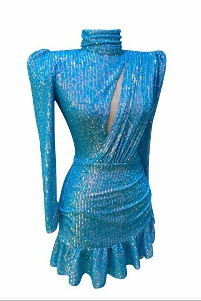 Mavi Payetli Elbise