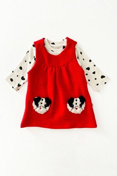 Kız Bebek Köpek Detaylı Elbise Takım 2 Parça