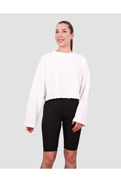 Kadın Ekru Basic Sweatshirt
