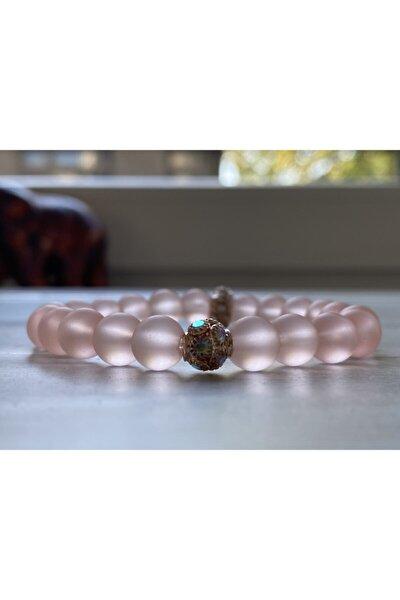 Kadın Toz Pembe Zirkonyum Detaylı Opal Bileklik