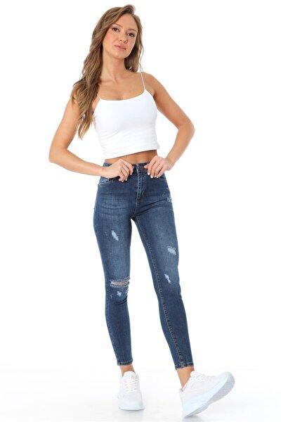 Kadın Mavi Yüksel Bel Dar Paça Yırtık Pantolon