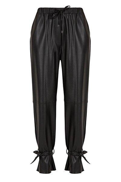 Deri Kumaş Karışımlı Pantolon