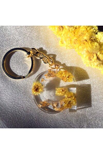 Sarı Kurutulmuş Çiçekli Epoksi Reçine Harf Anahtarlık