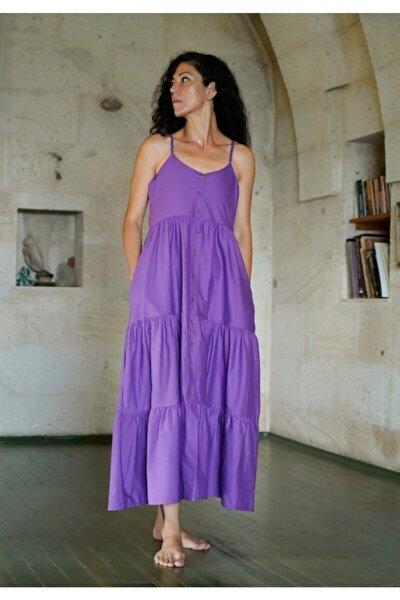 Kadın Mor Askılı Uzun Elbise