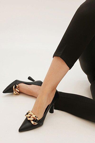 Kadın Siyah Viyolin Stiletto Topuklu Ayakkabı