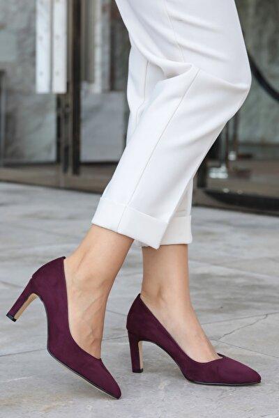 Lita Bordo Süet Topuklu Ayakkabı