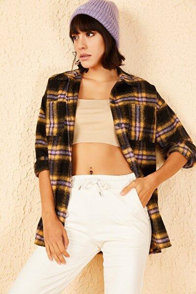 Kadın Sarı-Pembe Ön Çift Cepli Kaşe Gömlek 10141039