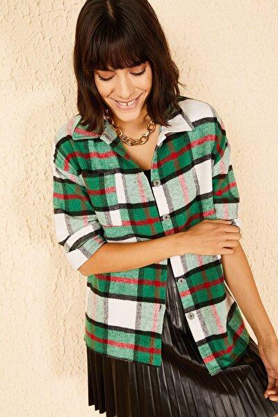 Kadın Yeşil Cepli Kare Desenli Kaşe Gömlek 10141038